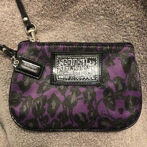 Black/Purple Coach Wristlet